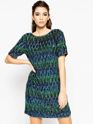 NIGHT All Over Embellished Peacock Shift Dress
