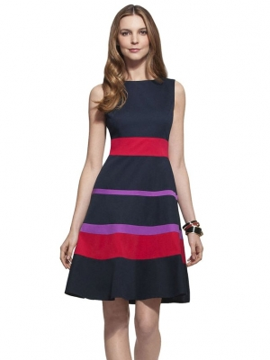 YACUN Women's Splice Stripe Color Block Fit and Flare