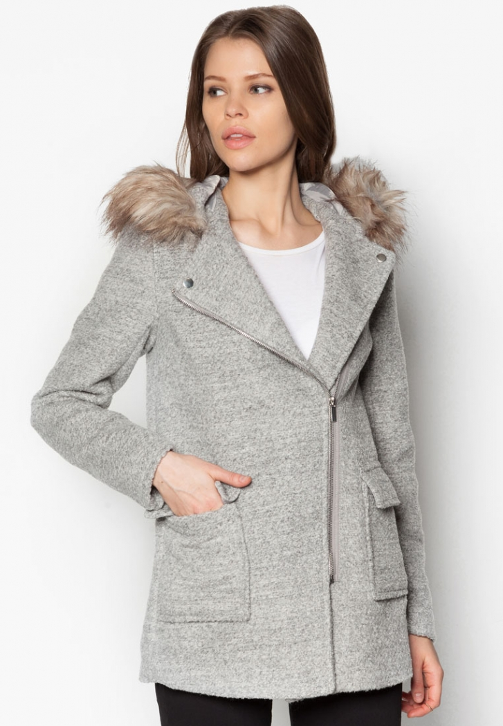 Faux Fur Trim Hooded Biker Duffle Coat